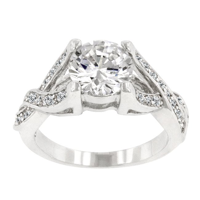 White Gold Rhodium Bonded Clear CZ Engagement Ring