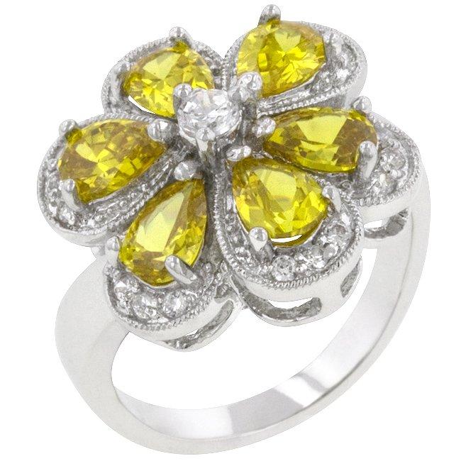 White Gold Rhodium Bonded Pear Cut Yellow  CZ Ring