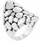 White Gold Rhodium Bonded Cobblestone Ring