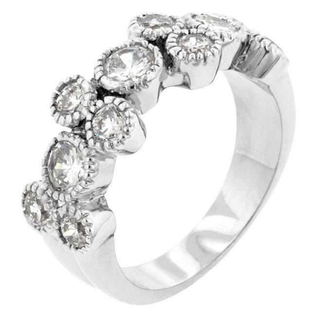 White Gold Rhodium Bonded CZ Anniversary Ring