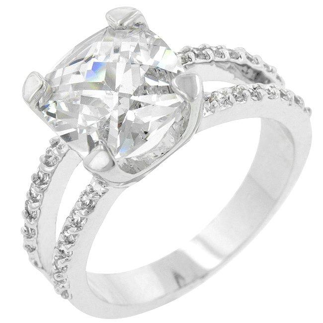 White Gold Rhodium Bonded CZ Cocktail Ring