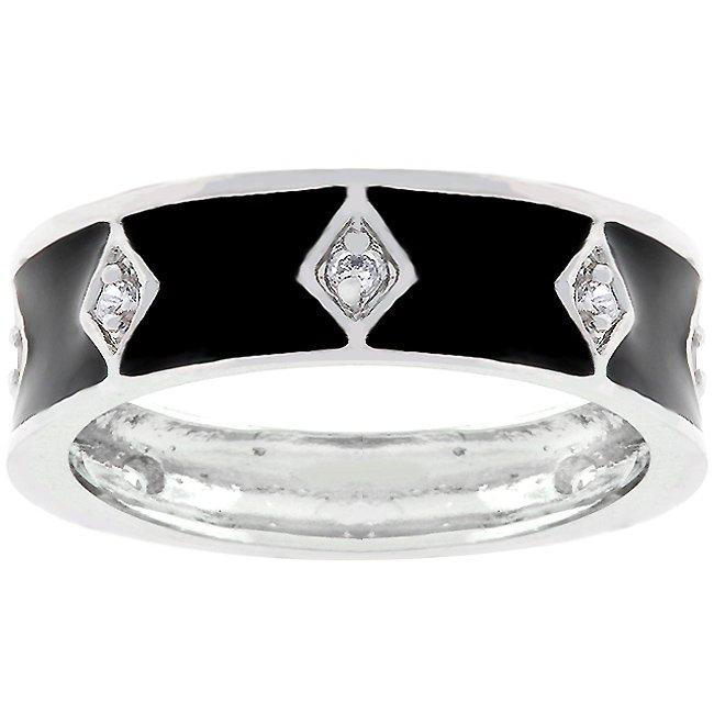 White Gold Rhodium Bonded Black Enamel Eternity Ring
