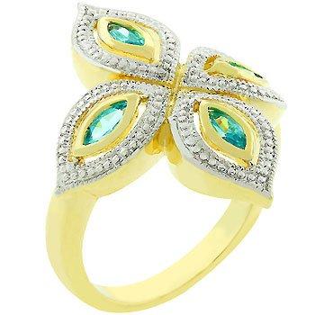 14k Gold White Gold Rhodium Bonded Clover Flower Ring