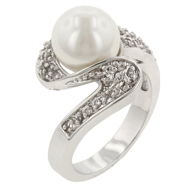 White Gold Rhodium Bonded White Pearl Clea CZ  Ring