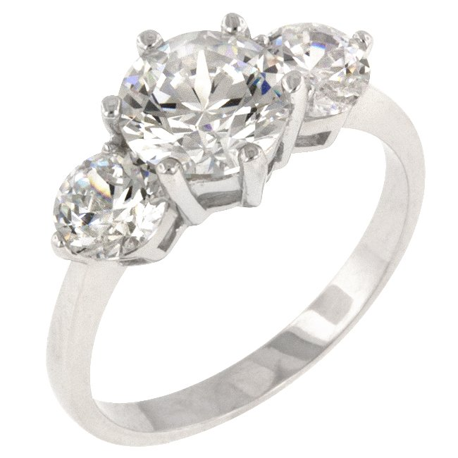 White Gold Rhodium Bonded CZ Anniversary Triplet Ring