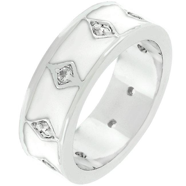White Gold Rhodium Bonded White Enamel Eternity Ring