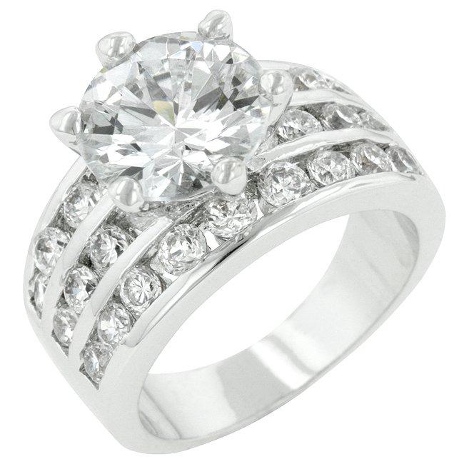 White Gold Rhodium Classic Round CZ Engagement Ring
