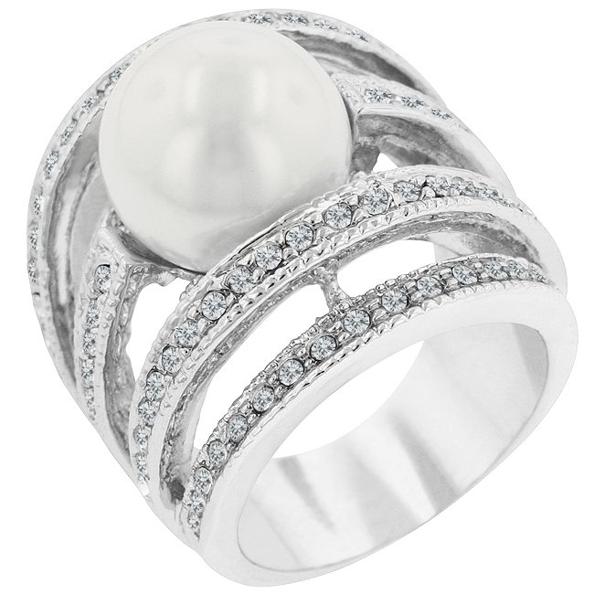 White Gold Rhodium Bonded Shell Pearl CZ Ring