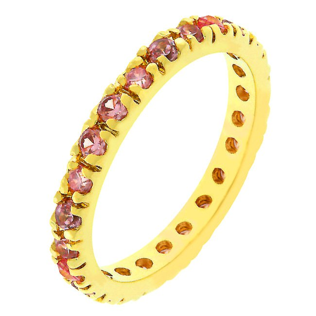 14k Rose Gold Bonded Pink Ice CZ Eternity Ring