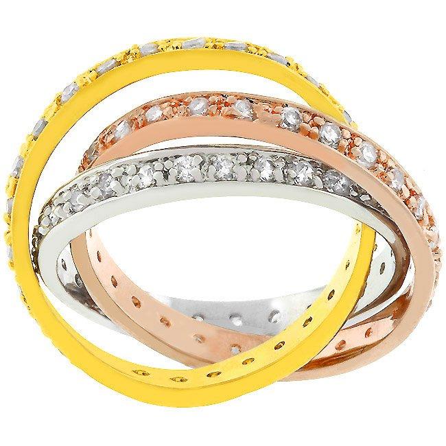 14k Gold and White Gold Rhodium Bonded Tri-Ring Set