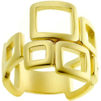 14k Gold Matte Square Art Deco Ring