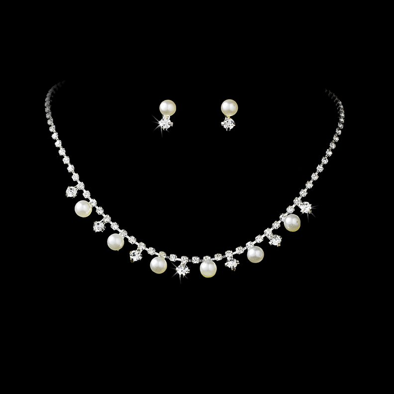Silver Rhinestones White Pearl Necklace Earring Set