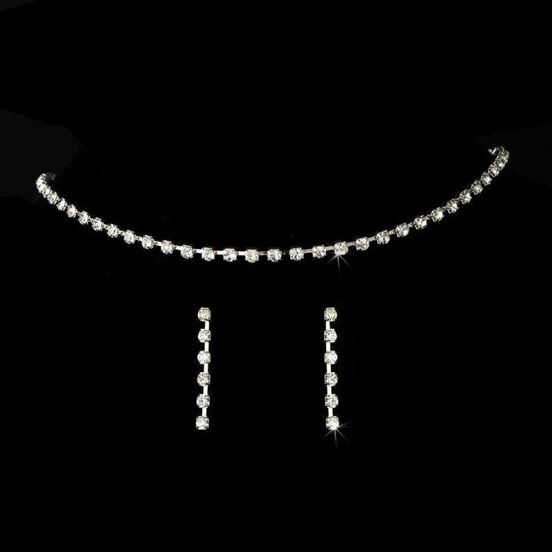 Silver Rhinestone Choker Necklace Earring Set