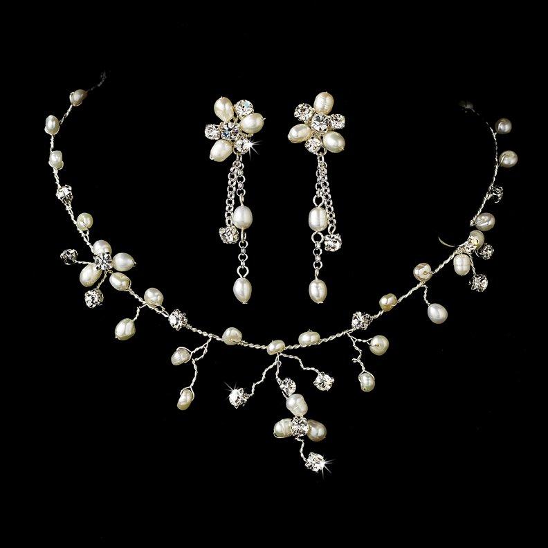 Silver Rhinestone Freshwater Pearl Necklace Earring Set