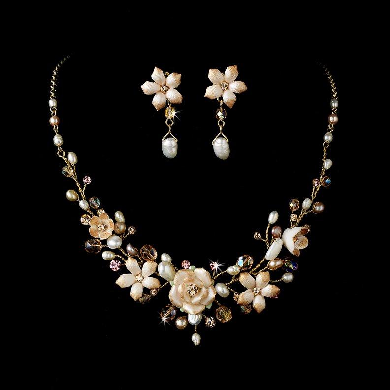 Gold Pink Porcelain Floral Necklace Earring Set