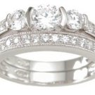 New 925 Sterling Silver CZ Wedding Set Ring