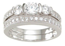 New 925 Sterling Silver CZ Wedding Set Ring