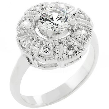 New white Gold Silver Antique Milligrain CZ Ring