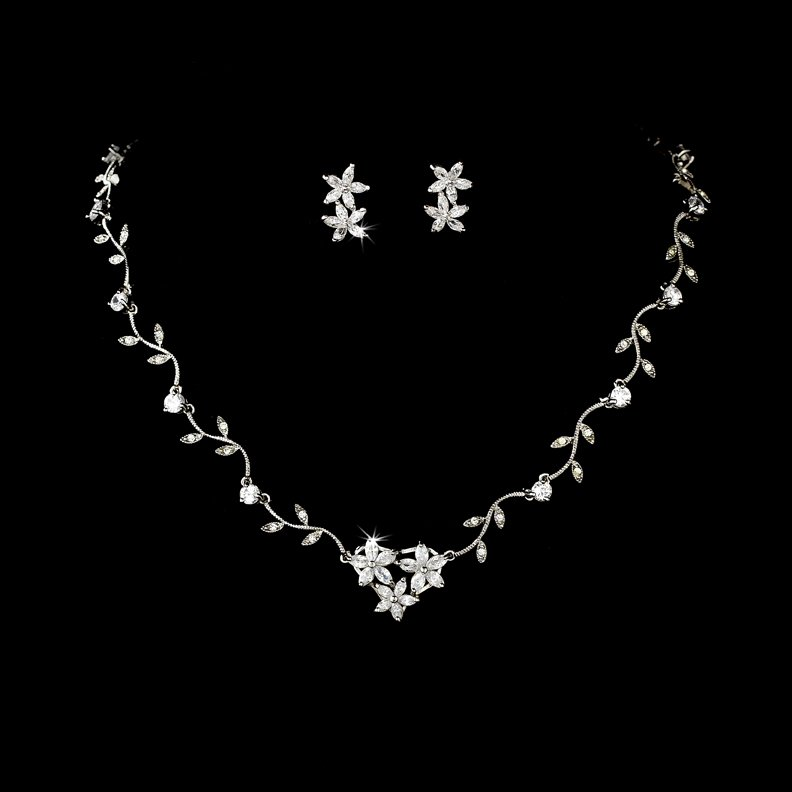 Silver CZ Crystal Star Vine Necklace Earring Set