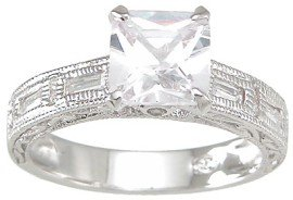 New 925 Sterling Silver CZ Antique Wedding Ring