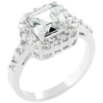 NEW White Gold Silver Princess Anniversary CZ Ring