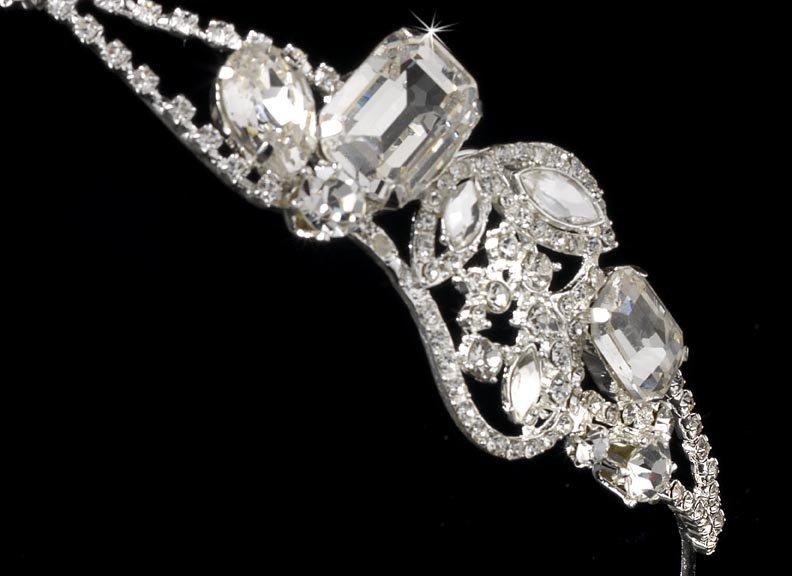 Silver Modern Rhinestone Crystal Headband Tiara