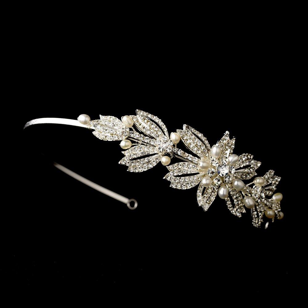 Silver Rhinestone Crystal Pearl Headband Tiara