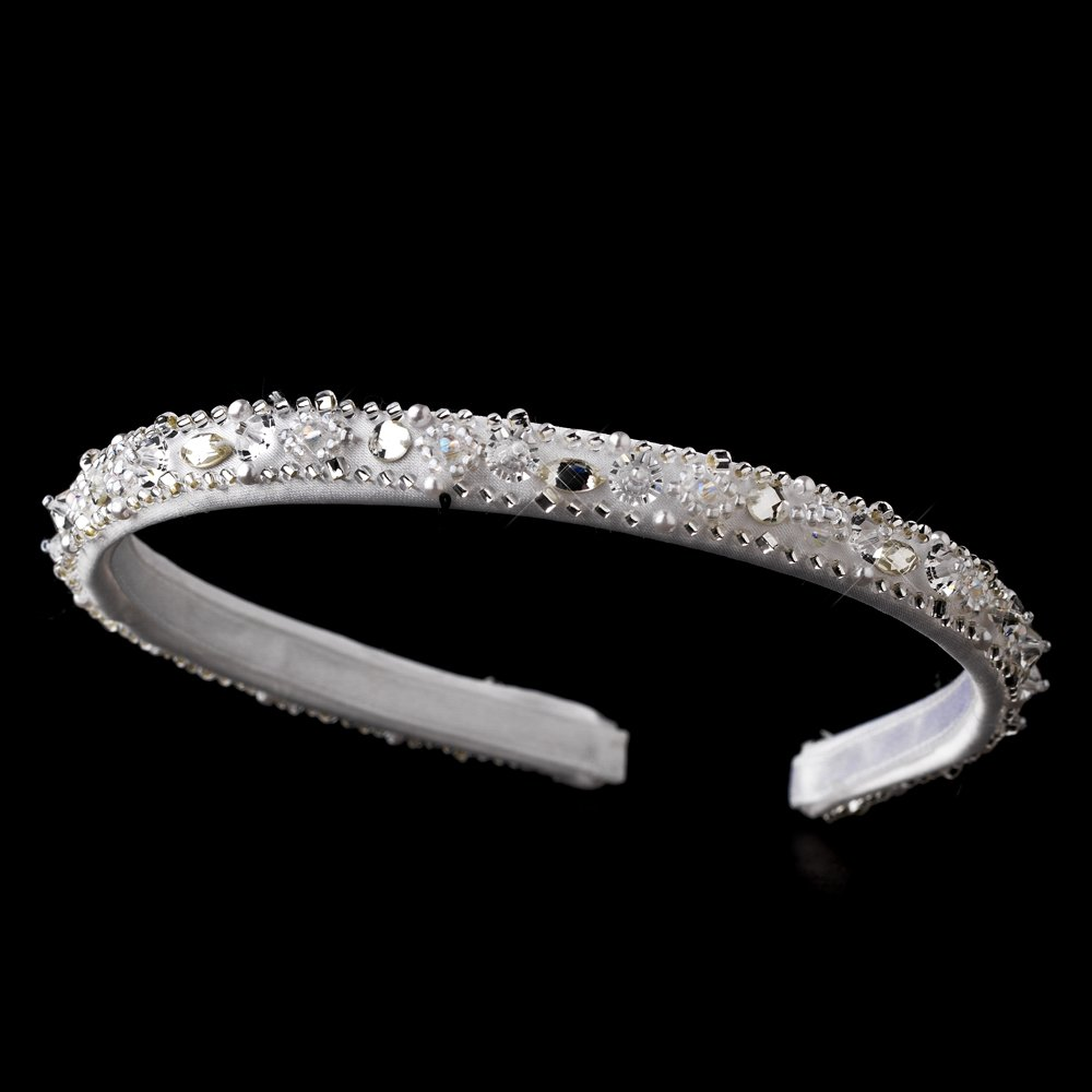 White Sparkling Crystal Beaded Headband Tiara