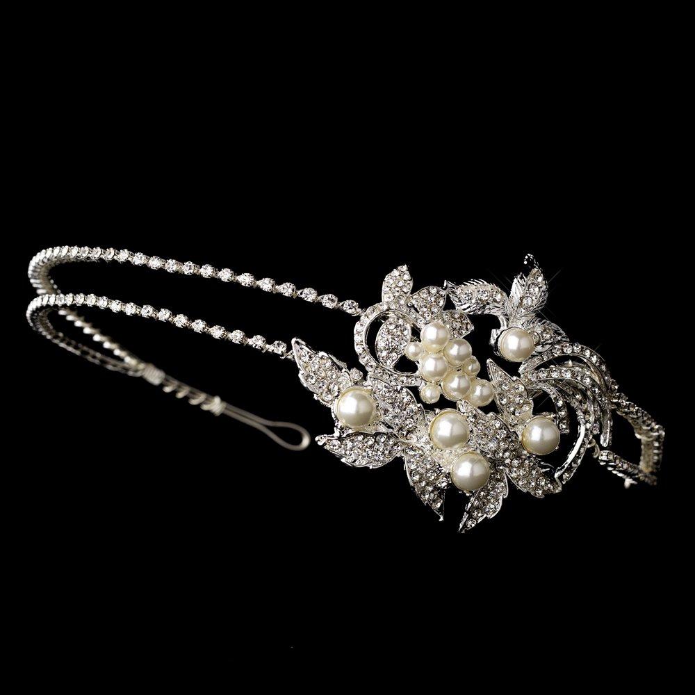 Silver Rhinestone Crystal Pearl Leaf Headband Tiara
