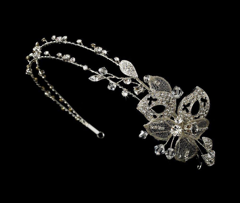 Silver Rhinestone Crystal Butterfly Headband Tiara