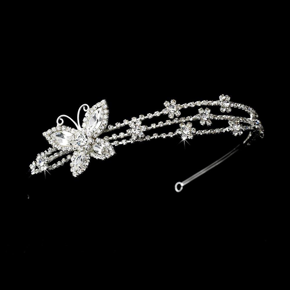 Silver Clear Rhinestone Butterfly Headband Tiara