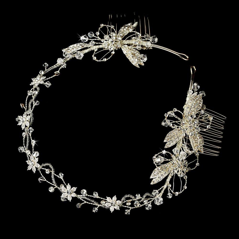 Silver Floral Rhinestone Crystal Bridal Headband Tiara