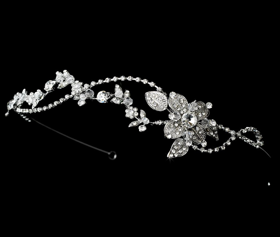 Silver Rhodium Vintage Crystal Headband Tiara