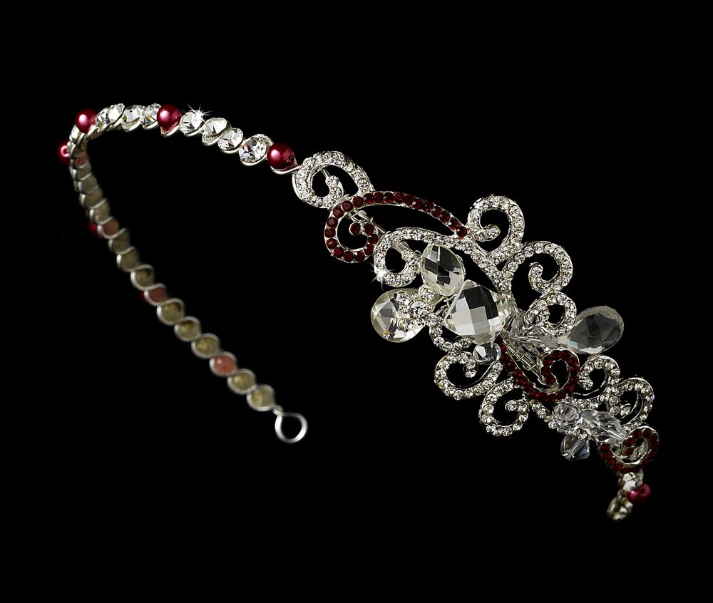 Silver Red Clear Swarovski Crystal Headband Tiara