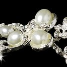 Silver Rhinestone White Pearl Headband Tiara