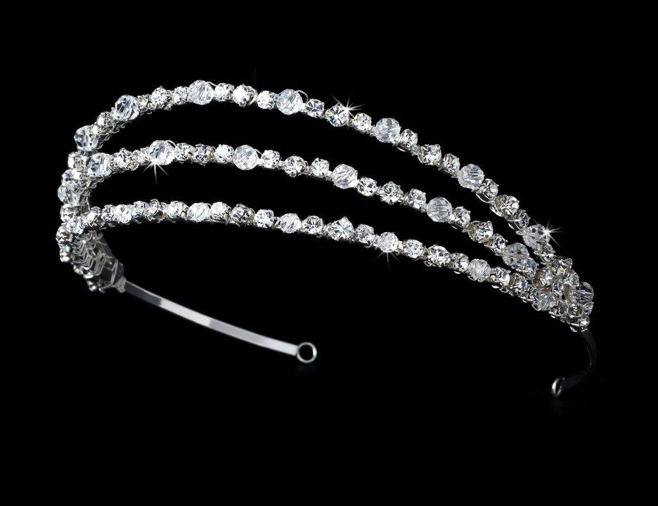 Silver Swarovski Triple Band Headband Tiara