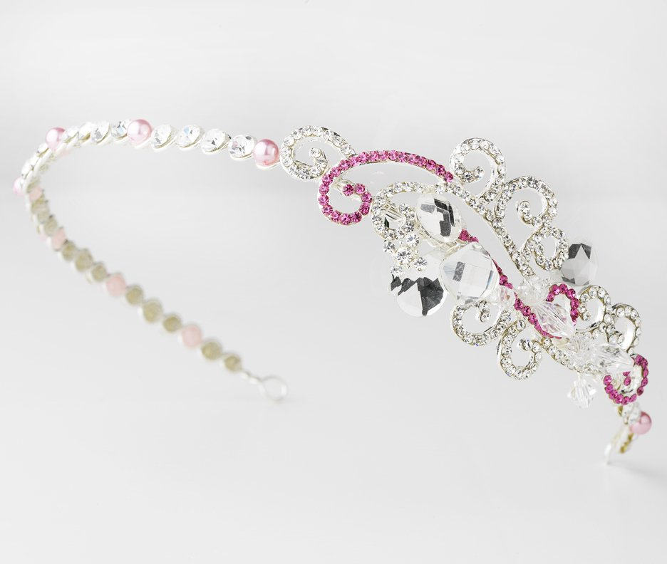 Silver Pink Clear Swarovski Crystal Headband Tiara
