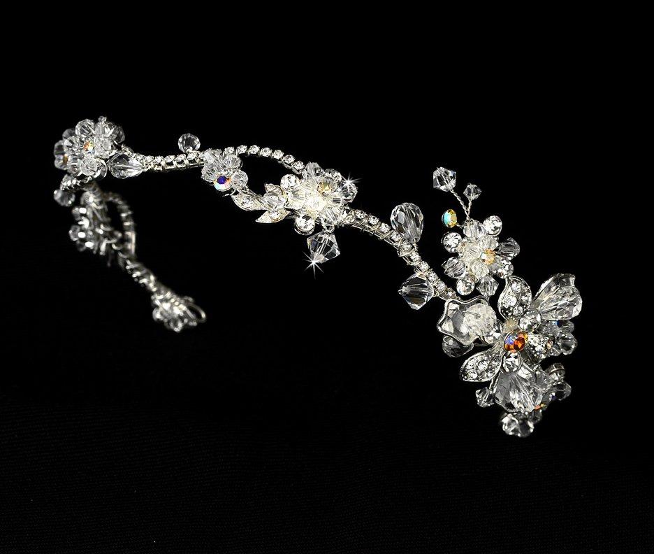Silver Swarovski Crystal AB Flower Headband Tiara