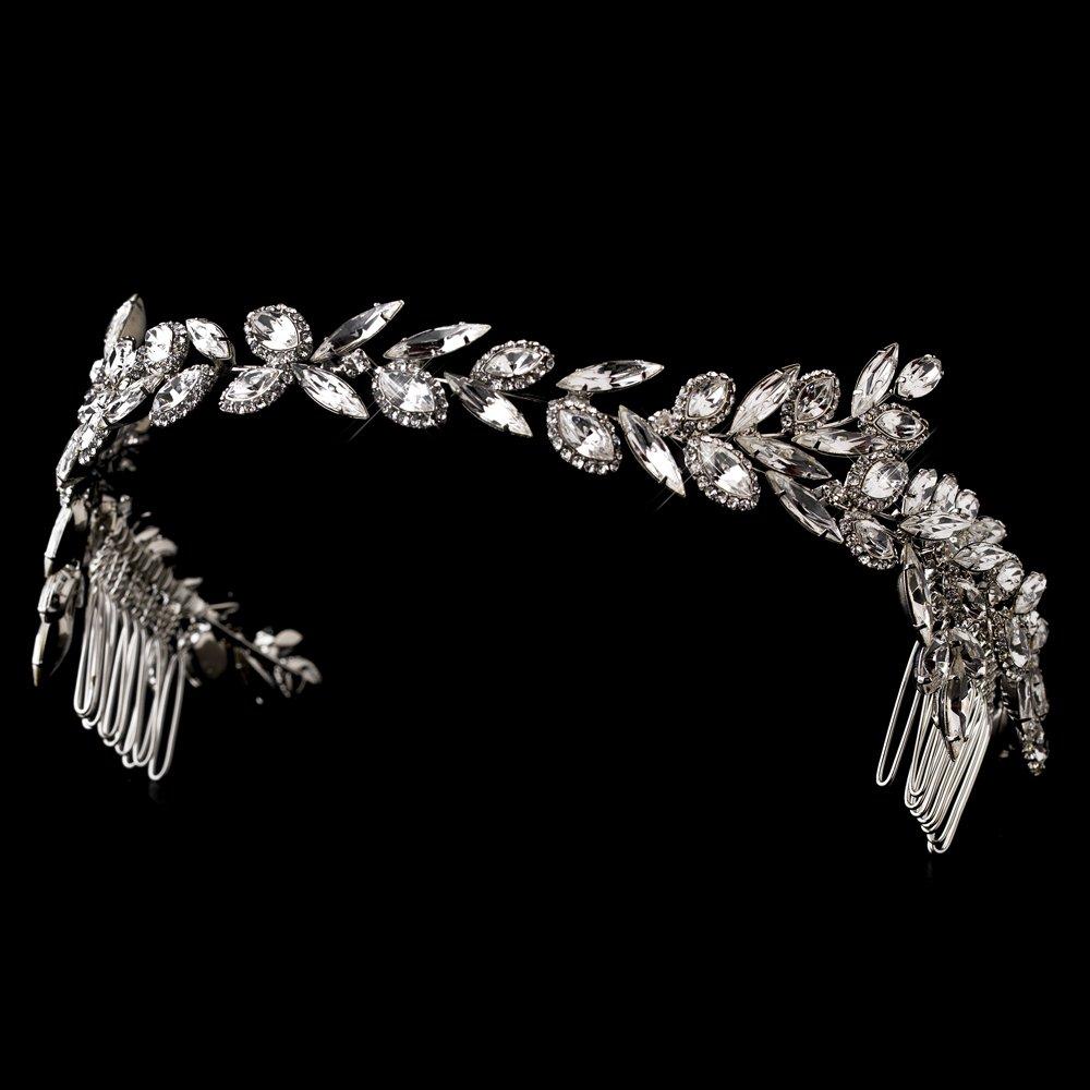 Silver Marquise Rhinestone Crystal Headband Tiara