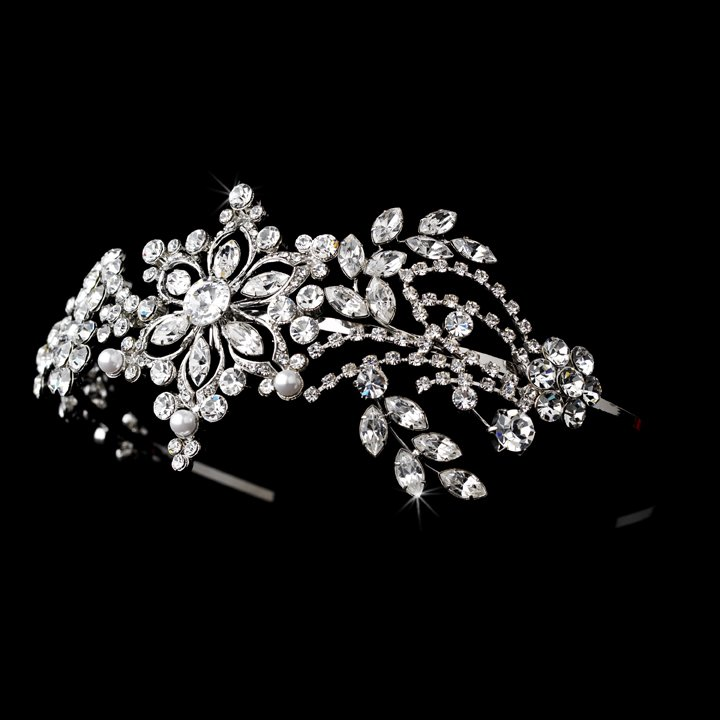 Silver Elegant Swarovski Crystal Pearl Headband Tiara