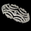 Silver Vintage Style CZ Crystal Bridal Brooch Pin