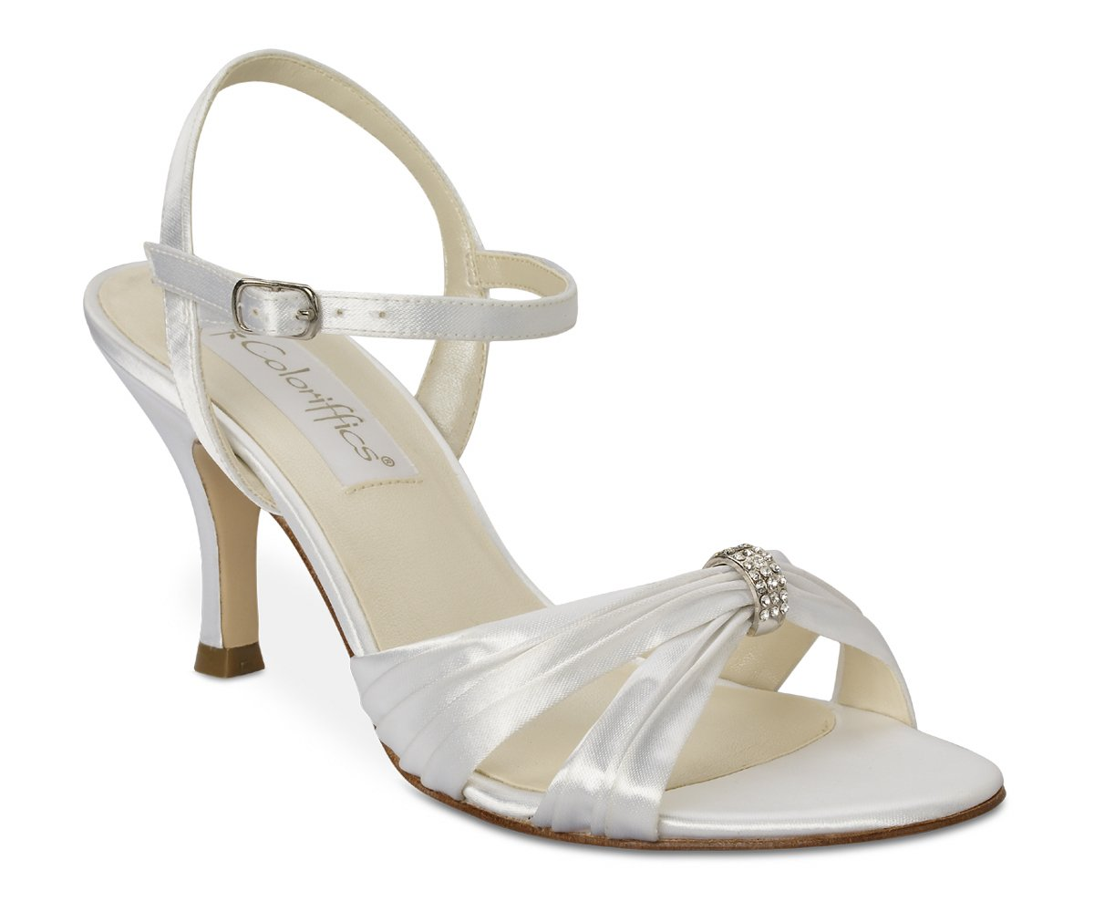 White Satin Dyeable Rhinestone High Heel Shoes
