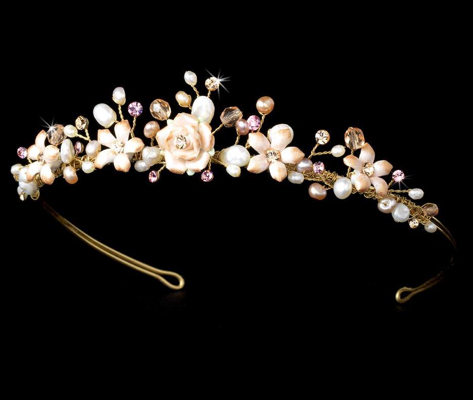 Porcelain Rose Rhinestone Pearl Headband Tiara