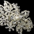 Silver Ivory Pearl Crystal Floral Headband Tiara