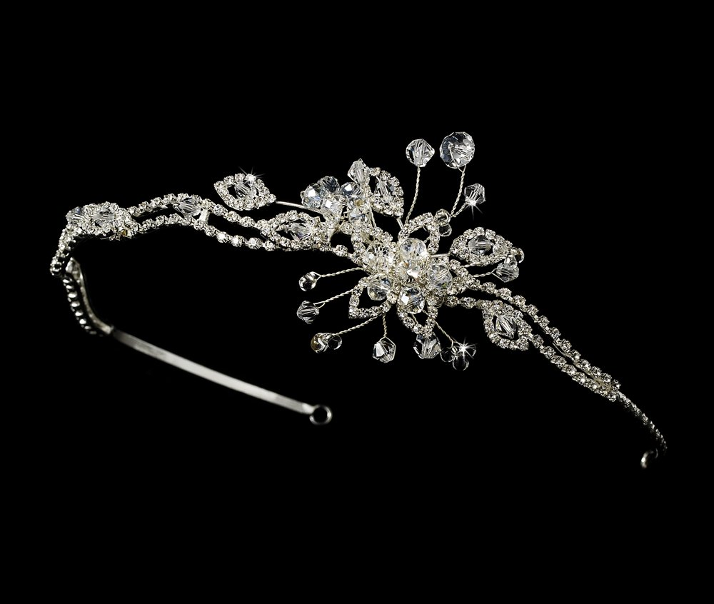 Silver Swarovski Rhinestone Floral Headband Tiara