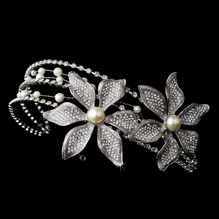 Silver Pearl Swarovski Crystal Flower Headband Tiara