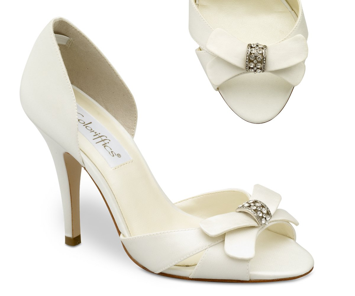 Ivory Satin Closed Back Bridal Dress High Heel Shoes