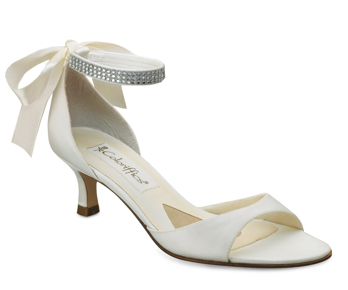 Ivory Satin Rhinestone Ankle Bridal High Heel Shoes