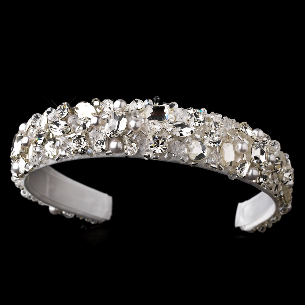 White Swarovski Crysal Bead Pearl Headband Tiara