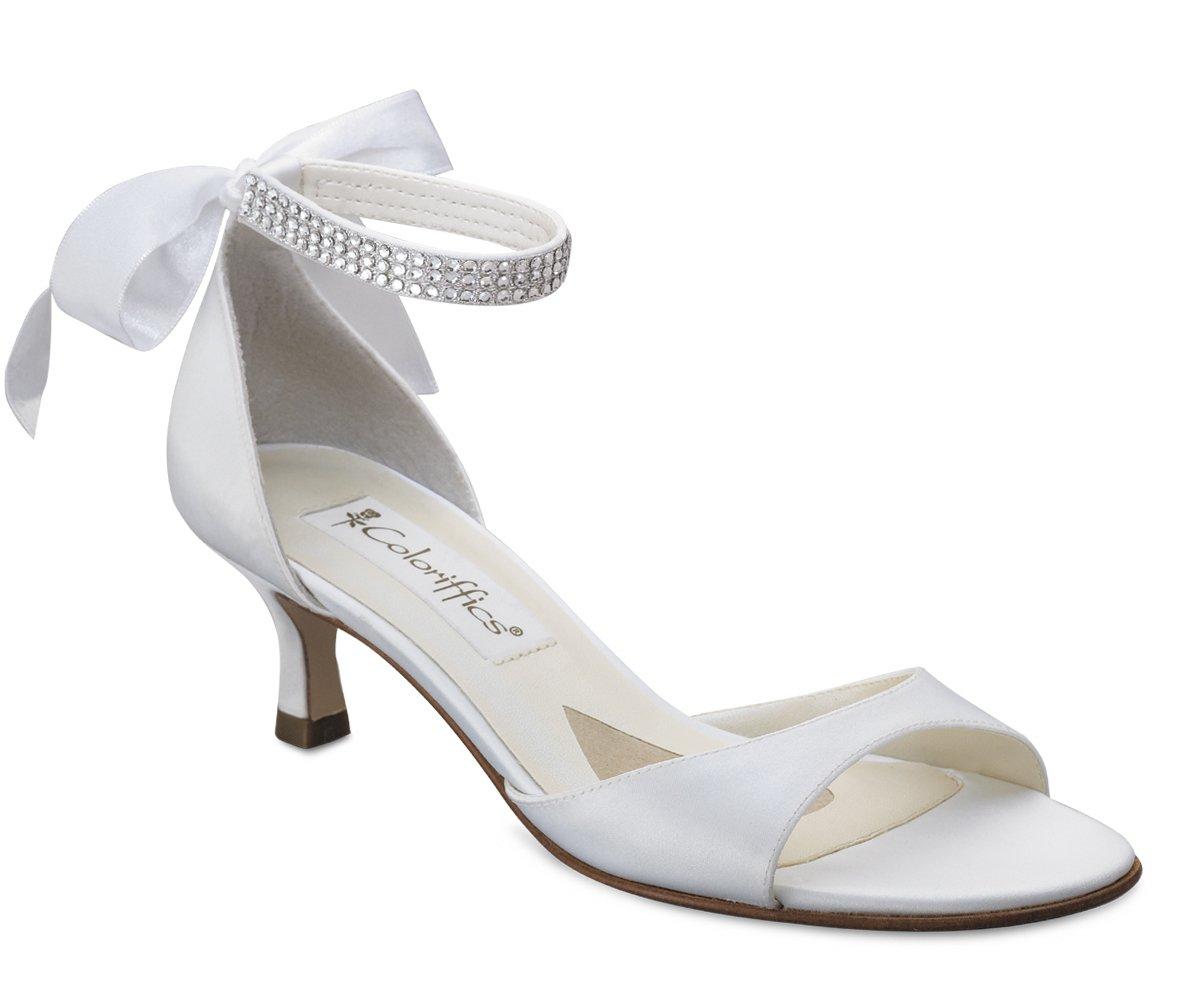 White Satin Rhinestone Ankle Bridal High Heel Shoes
